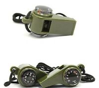 3 in1 Emergency Survival Gear Camping Hiking Whistle Compass Thermometer US