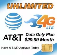 Unlimited AT&T 4G LTE data plan $29.99 a month!! No Throttling-Hotspots/Phones