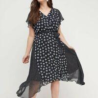 Dress 28 Lane Bryant Black Floral Sharkbite Hem Chiffon Plus Size Faux Wrap Midi