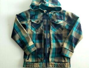 Nike 6.0 Youth Sz Medium Teal Blue Gray Plaid Hooded Active Lightweight Jacket