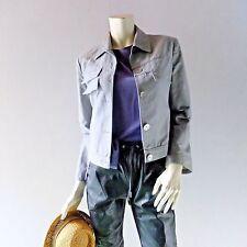 Moto Crop Jacket CERRUTI ARTE Gray Cotton sz 4 6 IT 38 Designer Summer Coat S M
