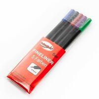 5er-Set Fineliner bunt verschiedene Farben 0,4mm / schwarz blau rot grün lila