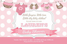 10 PERSONALISED BABY SHOWER INVITATIONS - PINK BLUE GREEN BOYS GIRLS
