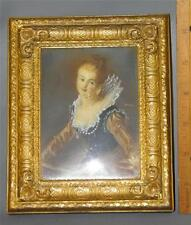 ANTIQUE ORNATE BRONZE ITALIAN PICTURE FRAME CONVEX GLASS MINIATURE PAINTING