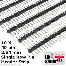 """10 x 40 Pin Intestazione Striscia Pin PCB 0.1"""" 2.54mm per Kit, Montaggio sperimentale Arduino-Regno Unito"""