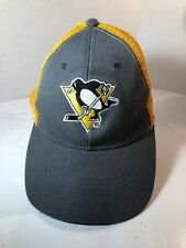 PITTSBURGH PENGUINS GREY & YELLOW EMBROIDERED TRUCKER MESH MENS ADJUSTABLE HAT