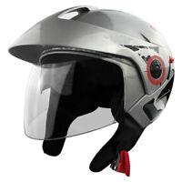 61fff59a DOT Certified Open Face Motorcycle Helmet w/ Fixed Visor & Face Shield