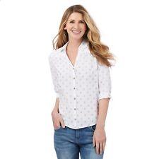 Mantaray at Debenhams - Women's UK 18, White Textured Circle Shirt (2) - BNWT