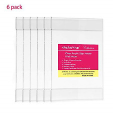 Display4top 6 Pack of Wall Mount Portrait Clear Acrylic Sign Holders with 8.5 X