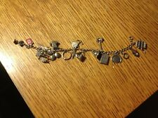 Antique Sterling Silver Charm Bracelet WW I or II Time period Mechanical Moving
