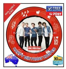 ONE DIRECTION PERSONALISED EDIBLE ICING BIRTHDAY CAKE  TOPPER IMAGE round 19cm