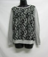 Forever 21 Pullover Thin Sweater Juniors Size Large Gray Black Lace Print