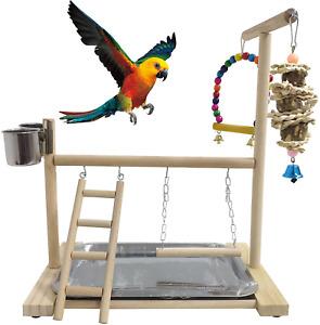 Bird Playground Parrots Play Stand Wooden Parrot Perch Gym Playpen Parakeet Lad