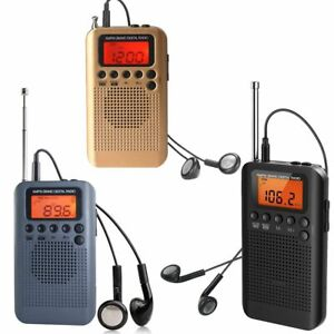 AM FM Stereo Pocket Radio Digital Display with Speaker and Earphones
