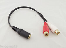 """Gold 1/8"""" 3.5mm Stereo Female To 2 RCA Female Jack Splitter Audio Adapter Cable"""
