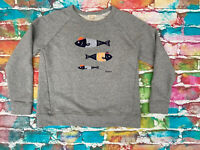 Y81 Barbour Beacon Grey Jumper Sweat Shirt Fishing Fish Ladies Size 14