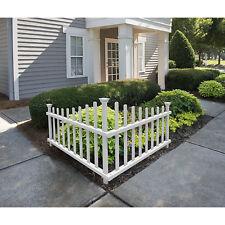White Vinyl Corner Picket Fence Garden Yard Lawn Accent Panel Enclosure 42x30in