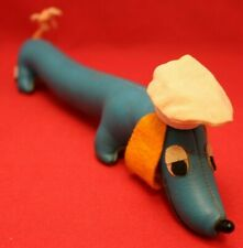 """Vintage R. Dakin & Co. 12"""" Stuffed Animal Plush Toy Blue Dachshund Dog Chef Hat"""