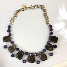 Carol Lipworth Designer Necklace Smokey Quartz Gold Amethyst Lapis