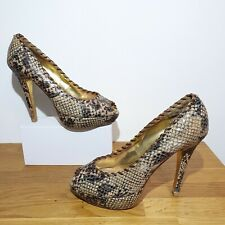 RRP £125 TED BAKER Brown Leather Snakeskin Peep Toe Court Shoes Size 6 Stilettos
