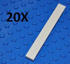 LEGO PARTS - 20X 1X8 WHITE TILES/FLAT BUILDING PIECES/SMOOTH BULK PANELS/4162