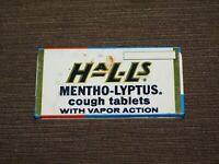 "VINTAGE MEDICINE 3 1/8"" X 1 5/8"" HALLS MENTHO-LYPTUS COUGH TABLETS  TIN *EMPTY*"
