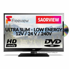 12 Volt TV Ultra Slim LED HD TV DVD Caravan Boat HGV 24V 12V Freeview Soarview