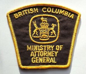 Vintage BC Ministry of Attorney General Badge / Patch