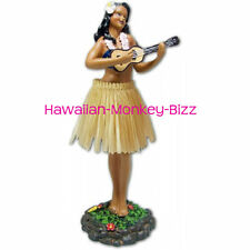 NEW! ~ LEILANI - UKULELE (NATURAL SKIRT) HAWAIIAN HULA DASHBOARD DOLL! ~ 7 INCH