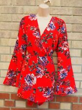 NEW LOOK TALL RED FLORAL FLARE LONG SLEEVE CULOTTE PLAYSUIT ROMPER 16 XL