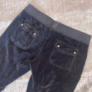 Juicy Couture Charcoal Dark Grey Velour Tracksuit Wide Leg Bottoms Zuma S UK 8