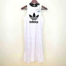 Adidas Womens Athletic Dress White Black Crew Neck Sleeveless Activewear XS New
