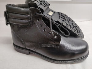 Mens Lace Up Safety Steel Toe Cap Leather Ankle Work Boots Black Sizes 8 & 10