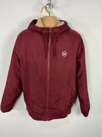 MENS HOLLISTER LARGE BURGUNDY BORG LINED CASUAL LIGHT HOODED BOMBER JACKET COAT