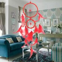 Red Feather Pattern Craft Dream Catcher Wall Hanging Home Car Decoration Gift