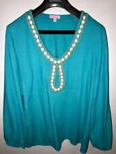 Lilly Pulitzer Shirt Tunic Top Blouse Beaded Neckline Turquoise Green White XL