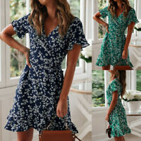 ❤️ Women's Floral V Neck Wrap Dress Ladies Boho Summer Beach Party Mini Sundress