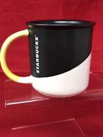 Starbucks Mug Coffee Ceramic Cup Black White Yellow Handle 12oz 2017 EUC