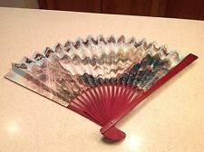 Ladies Folding Hand Fan Wood & Paper Travel Towns China Very Nice!