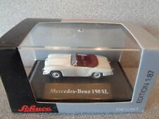 Schuco 1:87 MERCEDES BENZ 190SL CABRIOLET Blanc carrosseries... Comme neuf N Boxed!