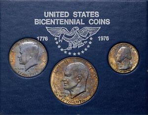 1976-S UNITED STATES BICENTENNIAL 3 COIN SET UNIQUE DEEP COLOR UNC BU TONED (MR)