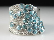 Sonia Bitton 14K Blue Topaz Diamond Ring White Gold Wide Band Designer Size 7
