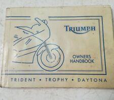 TRIUMPH TRIDENT TROPHY DAYTONA 1992 OWNER'S MANUAL 3850200/4 (JR) HB23
