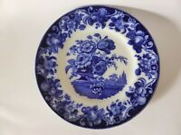 Antique Royal Doulton Flow Blue Pomeroy Dinner Plate, Blue and White Floral