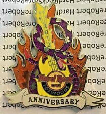 2012 HARD ROCK CAFE FOXWOODS 8TH ANNIVERSARY FLAMING GUITAR & SNAKE LE PIN