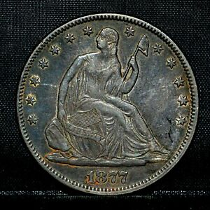 1877-P SEATED LIBERTY HALF DOLLAR ✪ AU ALMOST UNC DETAILS ✪ 50C SILVER ◢TRUSTED◣