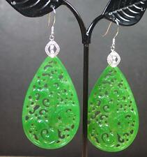 925 Sterling Silver Jade Earrings Dangle Lotus Flower Ruyi 如意花 Teardrop 285569