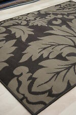 Cheap Budget Chocolate & Brown Damask Modern Medium Large student Rug 120x170 cm