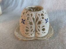 Lenox Jeweled Cross Votive Candle Holder & Saucer in Original Box Never Used