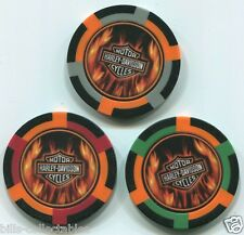 3 colors HARLEY DAVIDSON MOTORCYCLE FLAMES poker chip sample set #187 Flawed